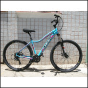 Bicicleta MTB Tamanho 17 Feminina Quadro Azonic com 24 velocidades